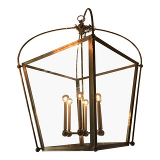 Visual Comfort Plantation Lantern in Burnished Brass For Sale