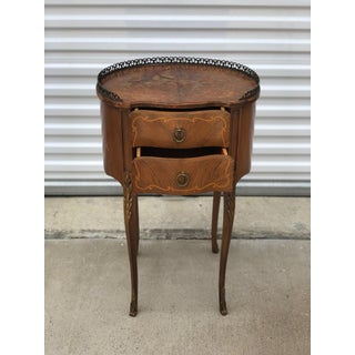 1920s French Country Wooden Side Table With Brass Hardware Preview