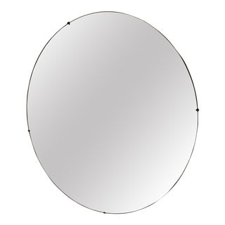 Vintage Art Deco Tropical Theme Beveled Round Mirror For Sale