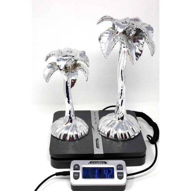 Vintage Fitz & Floyd Silver Palm Tree Candle Holders - Set of 2 For Sale - Image 12 of 13