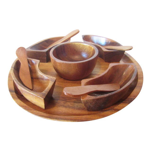 1970s Mid Century Modern Teak Hors d'Oeuvres Serving Tray - 10 Pieces For Sale