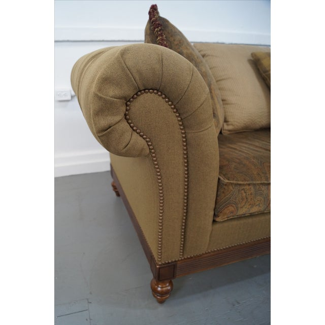 Cottage Ethan Allen British Classics Long Tufted Sofa For Sale - Image 3 of 10