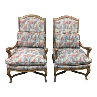Custom Bergere Style Arm Chairs - A Pair