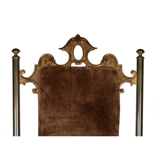 Vintage Brass & Brown Velvet Vanity Accent Chair - Image 6 of 7