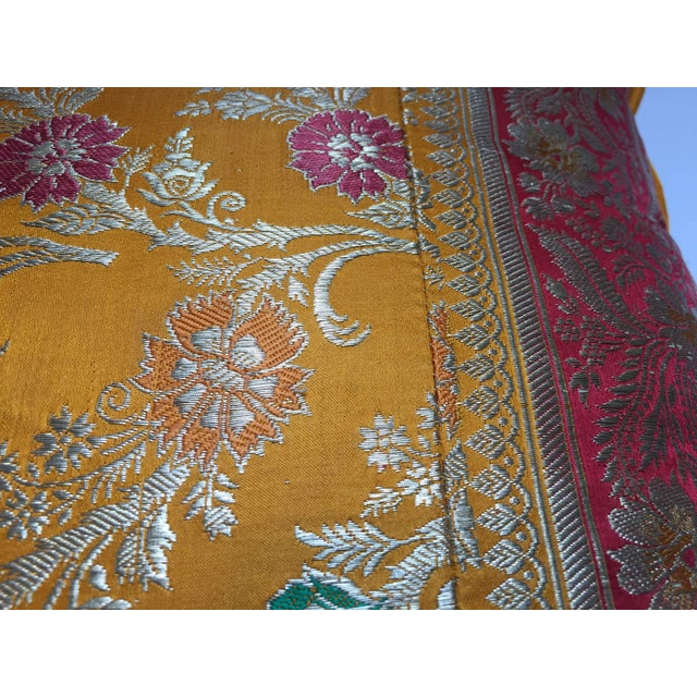 Orange Silk Pillow Custom Made From Indian Wedding Saris For Sale In Los Angeles - Image 6 of 7
