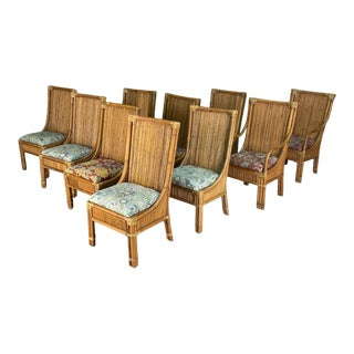 Pencil Reed Rattan High Back Dining Chairs, Set of 10 For Sale