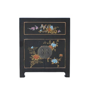 Chinese Medium Black Graphic Vinyl Moon Face End Table Nightstand For Sale