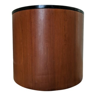 1980s Contemporary Walnut + Granite Cylindrical Drum Table / Nightstand For Sale