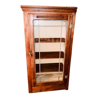 Mid 19th Century Display/China Cabinet With Shelving Drawer and Full Glass Door With Leaded Detail For Sale