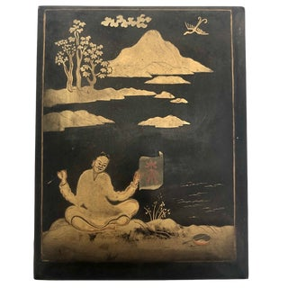 Black and Gold Hand-Painted Japanese Lacquer Box, Signed For Sale
