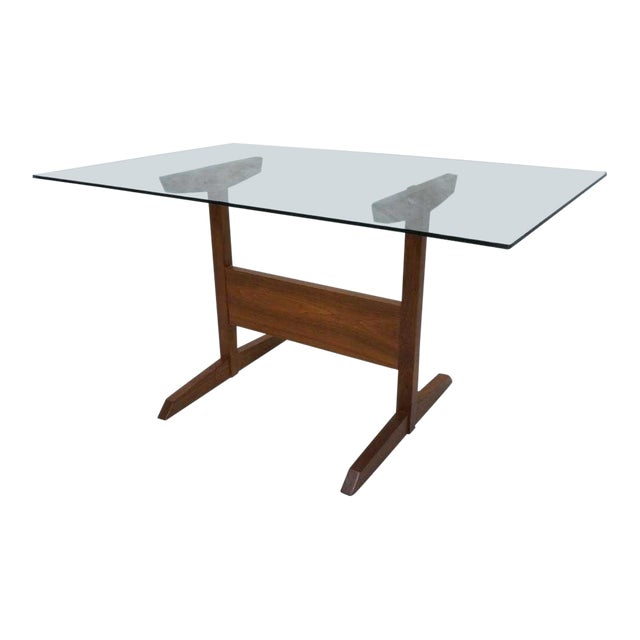 Modernist Walnut Glass Dining Table For Sale