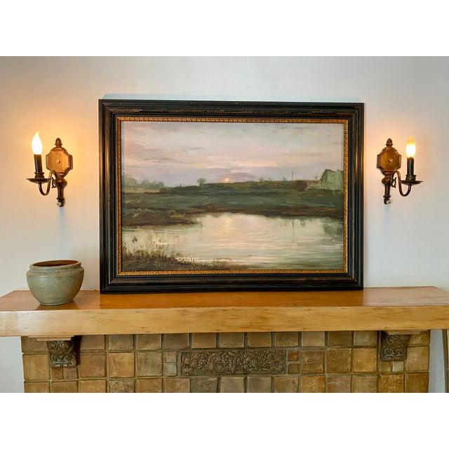 """A fine art giclée reproduction on archival canvas Landscape #2, Harvest Moon, Image Dimensions, 24"""" x 36"""" Framed in a Dark..."""