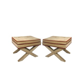 1970s Vintage Billy Baldwin Style Fully Upholstered Benches- a Pair For Sale