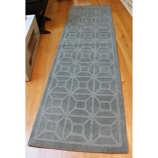 """Gray Blue Moroccan Runner - 2'3"""" X 8' - Image 2 of 4"""