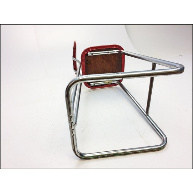 Mid Century Modern Red Vinyl Bar Stool - Image 11 of 11