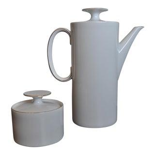 Vintage Thomas White Porcelain Coffee Server & Sugar Set