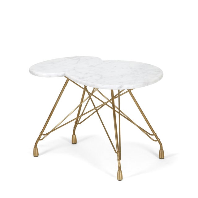 Dughlas James Nuage De Etoiles Bronze Side Table with Carrara Marble Top For Sale - Image 4 of 5