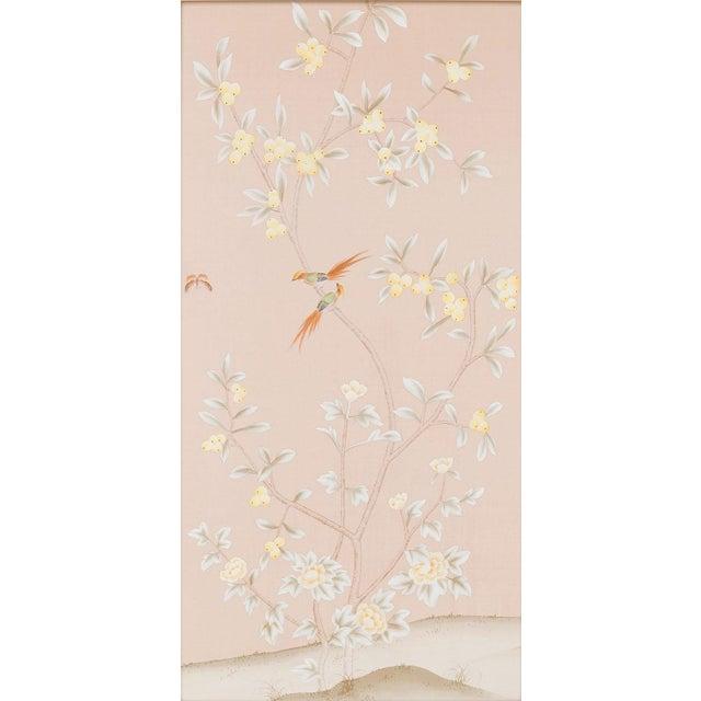 "Jardins en Fleur ""Pavenham Court"" Chinoiserie Hand-Painted Silk Diptych by Simon Paul Scott – 2 Pieces For Sale - Image 4 of 10"