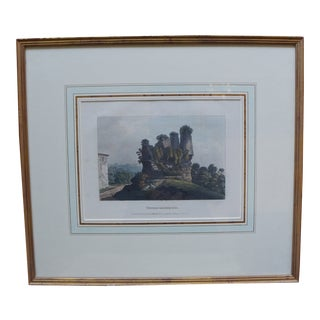 """Traditional Framed Colored Engraving of a Landscape, Titled """"Tomb of the Horath """" For Sale"""
