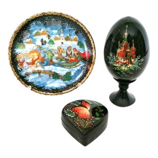 Vintage Hand Painted Miniature Russian Lacquerware - Set of 3 For Sale