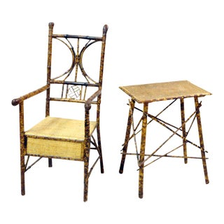 Bamboo Armchair and Side Table For Sale