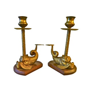 Brass and Wood Dolphin Candleholders - A Pair For Sale