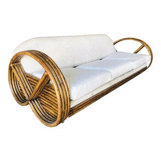 Restored Vintage Mid Century 4 Strand Round Pretzel Sleeper Sofa W/ Pullout Bed For Sale