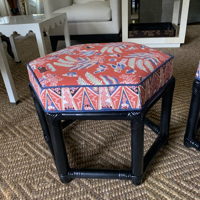 Chinoiserie 1960s Willow & Reed Chinoiserie Rattan Octagonal Ottomans- a Pair For Sale - Image 3 of 13