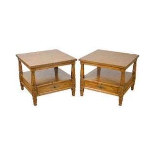 Romweber Viking Oak Pair of Carved Square 2 Tier 1 Drawer Side Tables For Sale
