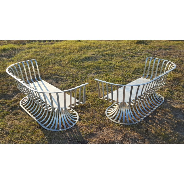 Russell Woodard Aluminum Settee For Sale - Image 5 of 5