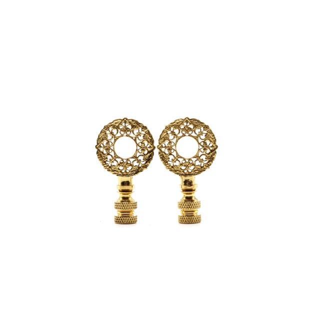 2010s Brass Wreath Lamp Finials - a Pair For Sale - Image 5 of 5