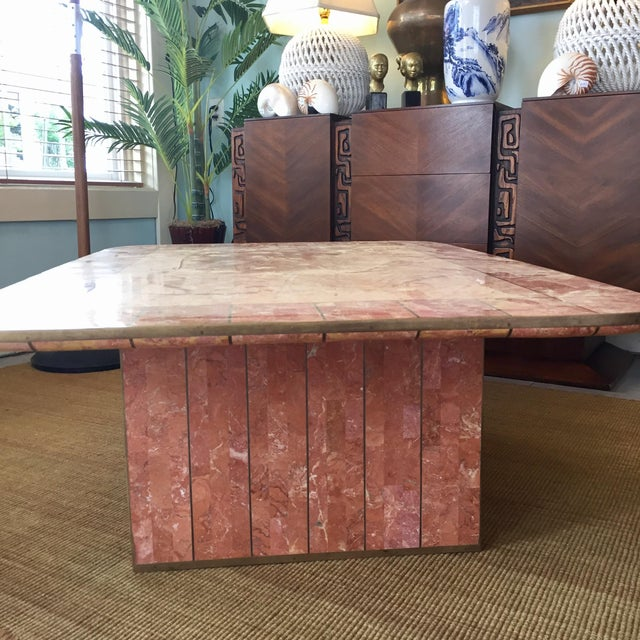 Brass Pink Tessellated Stone Coffee Table by Casa Bique For Sale - Image 7 of 8