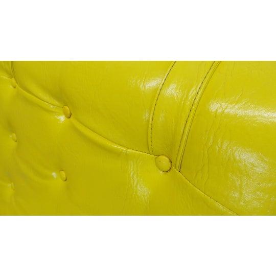 Plastic 1970s Vintage Decorian Modern Yellow Vinyl Wave Scoop Chair For Sale - Image 7 of 9