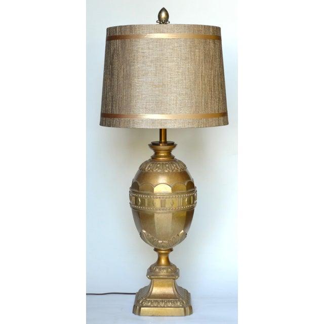 1950s Hollywood Regency Gold Metal Egg Lamp For Sale - Image 5 of 5
