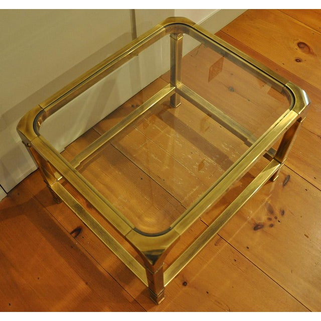 1970 Hollywood Regency Mastercraft Brass and Glass Low Profile Side Tables - a Pair For Sale In Boston - Image 6 of 11