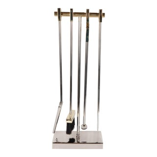Custom Four-Piece Fire Tool Set in Polished Nickel and Polished Brass Handles