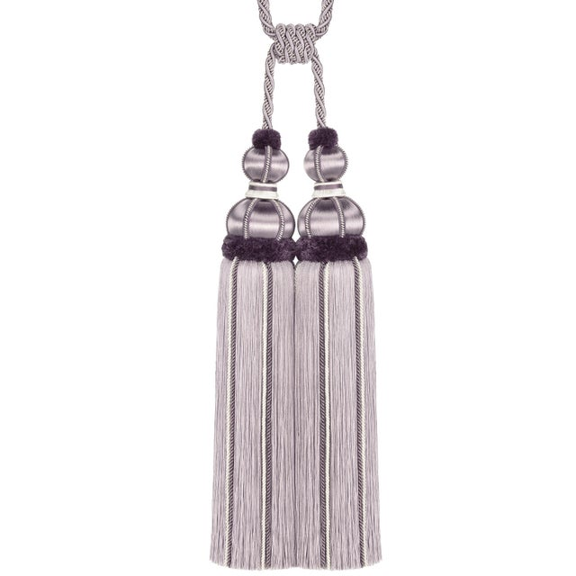 "Elegant double tassel tieback in tones of ""Wisteria & Lavender"" with beautiful satin wrapped moulds and gimp detailing...."