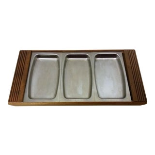 Mid-Century Walnut and Stainless Steel Three-Tray Server For Sale