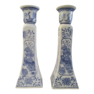 Vintage Asian Blue & White Floral Candle Holders - a Pair For Sale