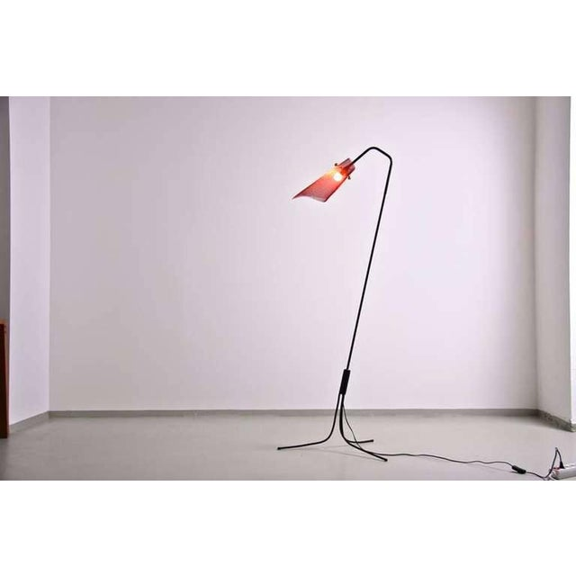 Lovely french wire floor lamp with red perforated metal shade 1950s french wire floor lamp with red perforated metal shade 1950s image 2 of 7 greentooth Gallery