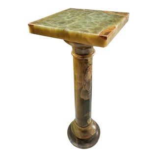 Antique Italian Green Onyx Pedestal Stand For Sale