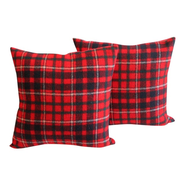 Pair of Red and Blue Pendleton Blanket Pillows For Sale