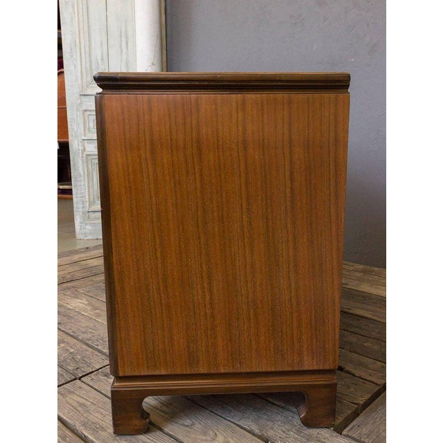 "Walnut American Midcentury ""Chinese-Modern"" Low Chest of Drawers For Sale - Image 7 of 11"