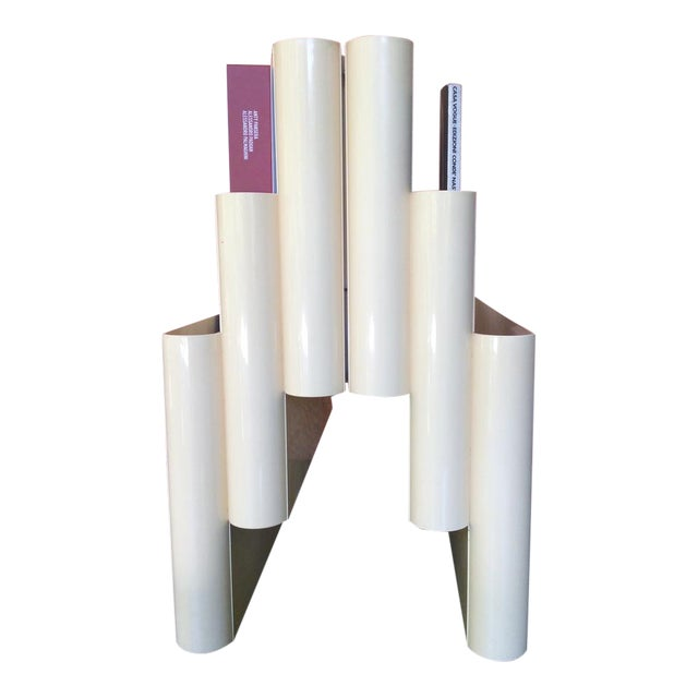 Giotto Stoppino for Kartell Off-White/Cream, Mid-Century Modern Magazine Rack With 6 Compartments For Sale