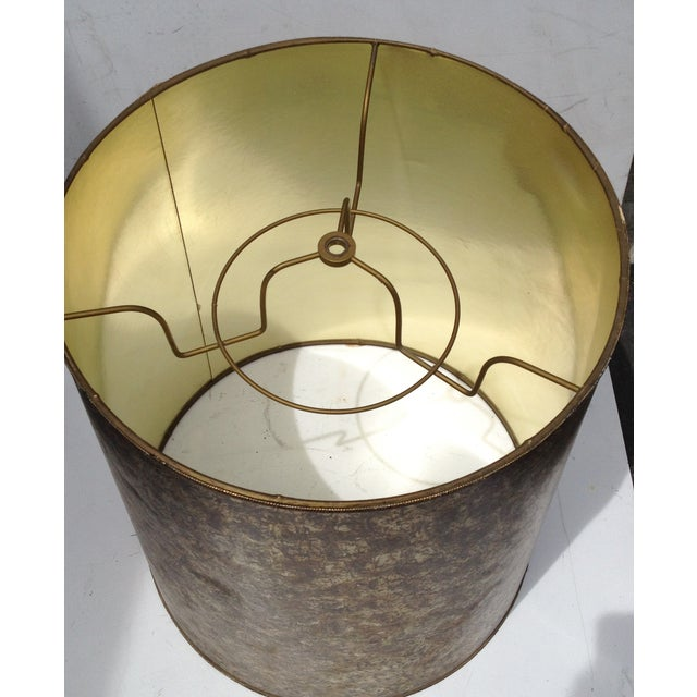 Mid-Century Modern Barrel Lampshade Tortoise Shell - Image 5 of 6
