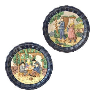 1880 French Country Pair of Navy Blue Edged Folk Art Majolica Decorative Plates For Sale