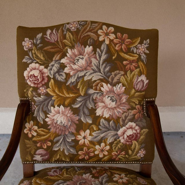 19th Century Antique French Louis XV Original Needlepoint Tapestry Armchair For Sale - Image 4 of 13