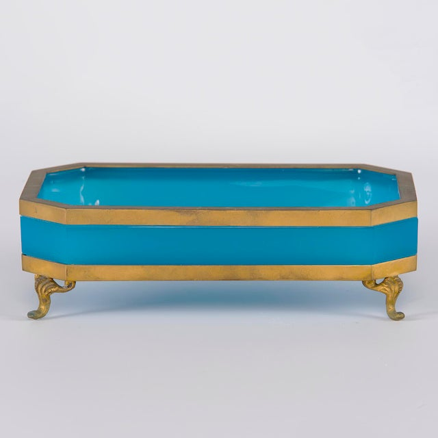 French Footed Blue Opaline Glass and Brass Dish For Sale - Image 10 of 13