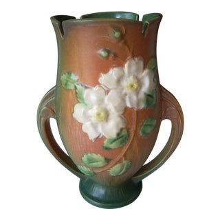 Roseville White Rose Pottery Vase For Sale