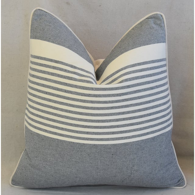 """Cottage French Gray & White Nautical Striped Feather/Down Pillows 22"""" Square - Pair For Sale - Image 3 of 12"""